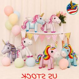 1//5/10 Pcs 3D Standing Unicorn Foil Balloon Kids DIY Birthd