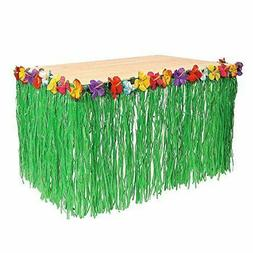 Adorox 1 Table Skirt Hawaiian Luau Hibiscus Green Table Skir