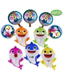 Baby Shark 10 PC Family Helium Foil Balloons  Kids Birthday