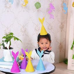 10 pcs Mermaid Tail Hat Birthday Party Decor Paper Craft Cap