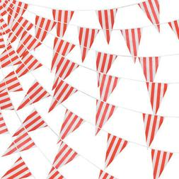 100 Foot Pennant Banner, 48 Red & White Striped Flags, Circu