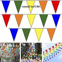 100' Multi Color Flag Pennant Banner Party Decor Birthday Pa