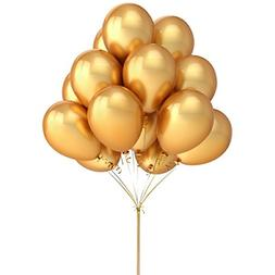 LeeSky 100 Pack 12 Inches Gold Color Latex Balloons Party De