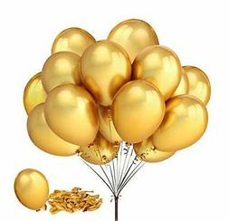 "Fecedy 100pcs/pack 12"" Gold Shiny Balloons for Party Decorat"