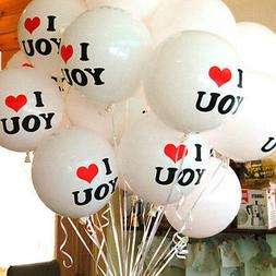 10x White I LOVE YOU Latex Balloons Birthday Party Wedding A