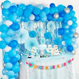 114 Pc Boy Baby Shower Decorations Kit - Blue Silver White B