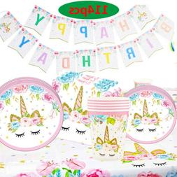 114 Pcs Unicorn Party Supplies Set 16 Guests Unicorn Party D