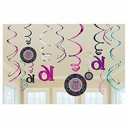 12 Classic Sweet 16th Sixteen Birthday Party Hanging Cutout