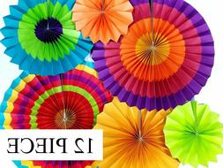12 Colorful Fiesta Hanging Paper Fans Party Decoration Party