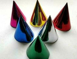 12 METALLIC PAPER CONE PARTY HATS BIRTHDAY PARTY FAVORS CARN