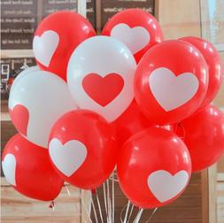 "12 PACK Heart Balloons Decorations 12"" Love Themed Party Dec"