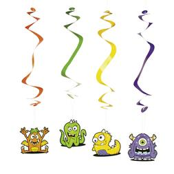 12 Silly Face Monsters Hanging Decorations Color Swirls Fun