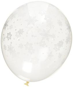 12 Snowflake Winter Holiday Balloons - Made in USA