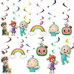 12PCS cocomelon Party Hanging Swirls Ceiling Streamers Decor