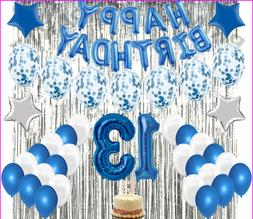 13Th Birthday Decorations Party Balloons BLUE-WHITE For Girl