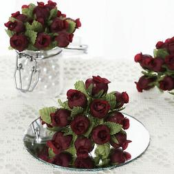 144 pcs Burgundy Mini CRAFT ROSE BUDS Wedding Party Favors S