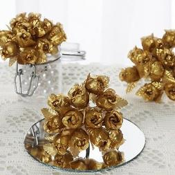 144 pcs Gold Mini CRAFT ROSE BUDS Wedding Party Favors Suppl