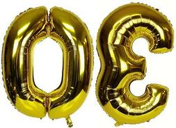 "16"" 30 Gold Number Balloons 30th Birthday Party Anniversary"