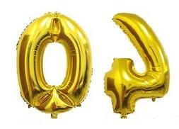 "16"" 40 Gold Number Balloons 40th Birthday Party Anniversary"