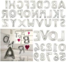 "16"" 40"" Silver Mylar Letter Number Balloons Party Birthday W"