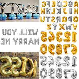 "16"" 40"" Silver Gold Letter Number Foil Balloon Wedding Celeb"