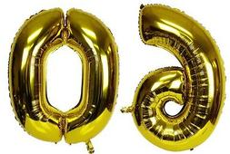 "16"" 60 Gold Number Balloons 60th Birthday Party Anniversary"