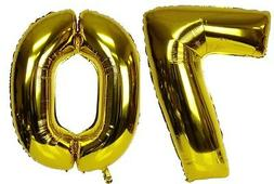 "16"" 70 Gold Number Balloons 70th Birthday Party Anniversary"