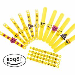 16 Pack Emoji Rubber Bracelets Kids Party Supplies Slap Wris