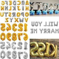 "16"" Silver Gold Letter Number Foil Balloon Wedding Celebrati"