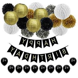 YGEOMER 28Pcs Black and Gold Paper Pom Poms Paper Lanterns F