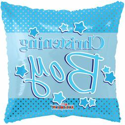 "18"" Christening Boy Square Baptism Mylar Foil Balloon Party"