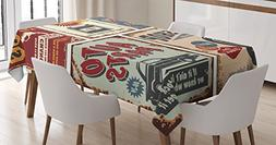 1950s Decor Tablecloth by Ambesonne, Vintage Car Metal Signs
