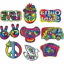 "1960's Cutouts 10 Pack 7.5"" to 12.25"" Hippy 1960's Birthday"
