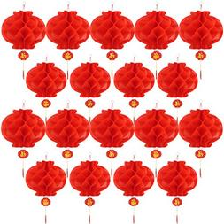 Bememo 20 Pieces Chinese New Year Red Paper Lanterns Thicken