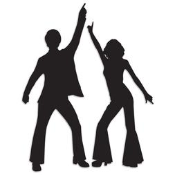 2 Disco Silhouettes 1970's Disco Dance Off Boogie Reunion Bi