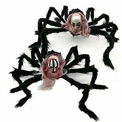"""2 Pack Halloween Haunters 32"""" Scary Fury Spider with Skull H"""