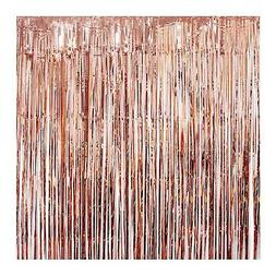 UTOPP 2 Pack Rose Gold Foil Fringe Curtains Photo Backdrop P