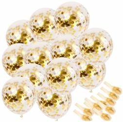 """20 PC GOLD Confetti Balloons 12"""" Party W Golden Paper Dots F"""