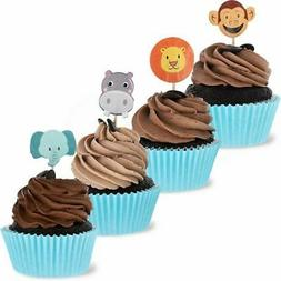 Juvale 200-Pack Jungle Animal Cupcake Decorations Party Topp