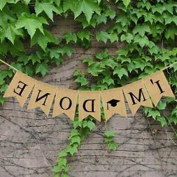 2019 Graduation Party Decor Banner Linen Cloth Swallowtail F