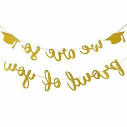 2020 Graduation Party Decorations- Gold Glittery We are So P