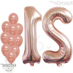 21 Number Balloons, Rose Gold - 21 Birthday Decorations | 21