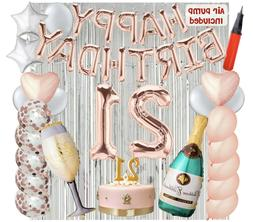 21st Birthday Decorations Balloons with Air Pump - Bundle Al