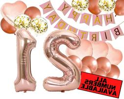 21st Birthday Decorations For Her - Pink and Rose Gold Theme