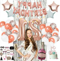 21st Party Supplies by Serene Selection, Rose Gold Birthday