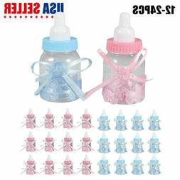 24 Fillable Baby Shower Candy Bottle Favors Blue Pink Party