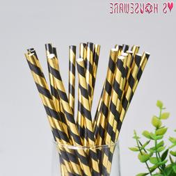 25pcs Stripe Paper Drinking Straws Gold And Black Paper Stra