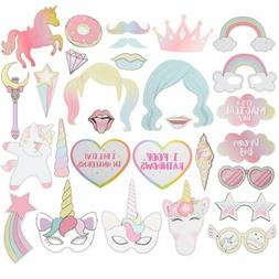 29PCS Unicorn Photo Booth Prop Girl Kids Birthday Party Supp