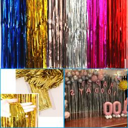 2M-3M Metallic Fringe Foil Curtain Tinsel Wedding Birthday P