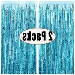 FECEDY 2pcs 3ft x 8.3ft Light Blue Metallic Tinsel Foil Frin